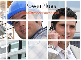 PowerPlugs: PowerPoint template with two different persons with buildings in background