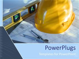 PowerPlugs: PowerPoint template with architecture blue prints with construction instruments and yellow hard hat as a metaphor