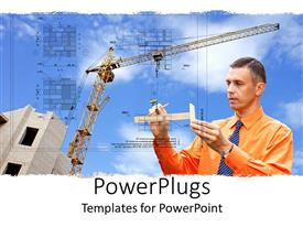 PowerPoint template displaying an architecture with clouds and machinery in the background