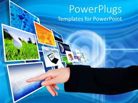 PowerPlugs: PowerPoint template with arm with finger pointing to screens flying into the distance, technology,