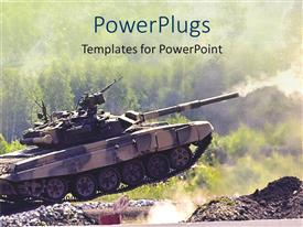 PowerPoint template displaying armoured army tank driving fast and shooting on a dirt road