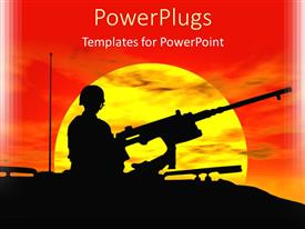 PowerPoint template displaying an army gunner on a tank with sun settling down in the back ground