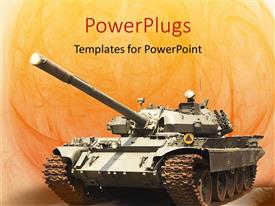 PowerPoint template displaying army tank in orange background