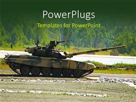 PowerPlugs: PowerPoint template with an army war amour tank on a tarred road