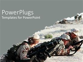 PowerPlugs: PowerPoint template with army at war iraq military camouflage guns desert on grey background