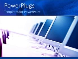 PowerPlugs: PowerPoint template with an arranged row of computer monitors with tables and chairs