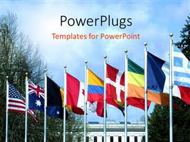 PowerPoint template displaying an arranged row of flags belonging to different countries