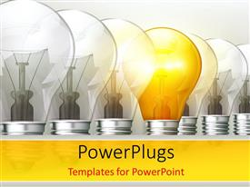 PowerPlugs: PowerPoint template with an arranged row of light bulbs with a lit one in the middle