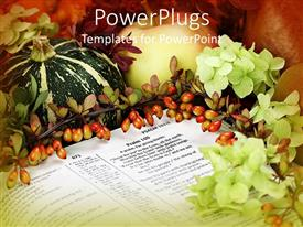 PowerPoint template displaying an arrangement made for thanksgiving with flowers and fruits in the background