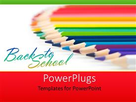 PowerPlugs: PowerPoint template with array of colored crayons over white background depicting learning
