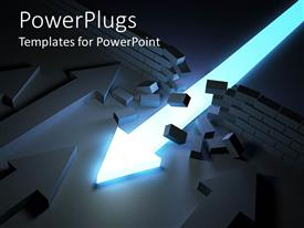 PowerPlugs: PowerPoint template with an arrow being pointed in the direction of a broken wall