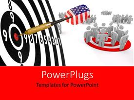 PowerPlugs: PowerPoint template with the arrow in the bulls eye with people in background