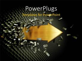 PowerPlugs: PowerPoint template with arrow burst through brick wall depicting overcoming hurdles with black color