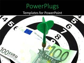 PowerPlugs: PowerPoint template with an arrow with a euro note and black background