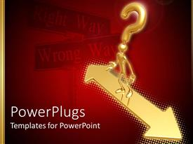 PowerPlugs: PowerPoint template with an arrow with a figure and a question mark