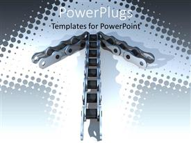 PowerPlugs: PowerPoint template with arrow formed by a bicycle chain on n ask colored background