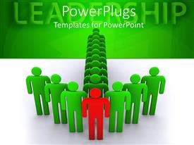 PowerPlugs: PowerPoint template with arrow formed by green colored human figures with a red one in front