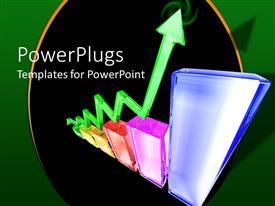 PowerPlugs: PowerPoint template with an arrow with a growth bar and blackish background