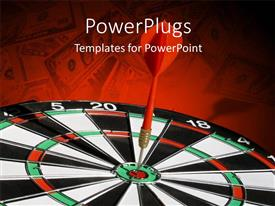 PowerPlugs: PowerPoint template with an arrow hitting the bulls eye with reddish background
