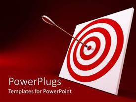 PowerPlugs: PowerPoint template with arrow hitting center of red and white target on deep red background