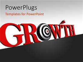 PowerPlugs: PowerPoint template with arrow hitting target of O in Growth