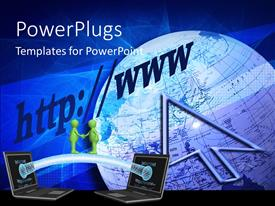 PowerPlugs: PowerPoint template with an arrow with a large globe and two open laptops