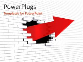 PowerPlugs: PowerPoint template with an arrow out of the wall with white background
