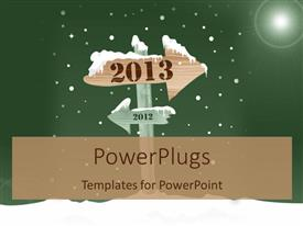 PowerPoint template displaying the arrow pointing towards the new year with greenish background