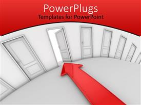 PowerPlugs: PowerPoint template with an arrow pointing towards an open door