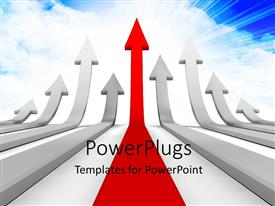 PowerPoint template displaying arrows race to success pointing upwards with sky