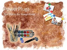 PowerPoint template displaying art tools, paint brush, color palette, pencil and art work