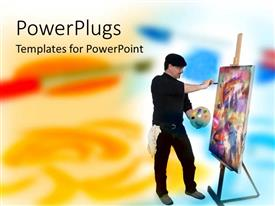 PowerPoint template displaying artist painting, painter holding wooden color palette, canvas, painting on canvas, easel