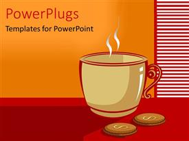 PowerPlugs: PowerPoint template with artistic depiction of cup of coffee with dollar symbol on red background