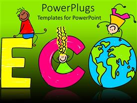 PowerPoint template displaying artwork of kids climbing the word ECO with letter O the globe
