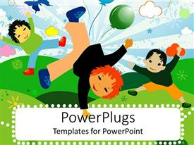 PowerPlugs: PowerPoint template with artwork of three cute children dancing and playing