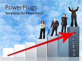 PowerPlugs: PowerPoint template with ascending bar chart with a red arrow and people standing on it