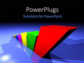 PowerPlugs: PowerPoint template with an ascending row of 3D bar chart on a blue background