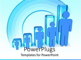 PowerPlugs: PowerPoint template with ascending sizes on human figures on a blue background
