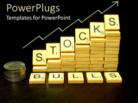 PowerPlugs: PowerPoint template with ascending stack of scrabble tabs with Stock rules text