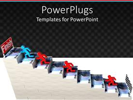 PowerPlugs: PowerPoint template with ascending stacks of currency notes with human figures running on them