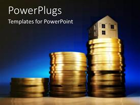 PowerPlugs: PowerPoint template with ascending stacks of gold coins with a house on it