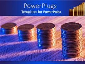 PowerPoint template displaying ascending stacks of gold coins on a paper with binary codes