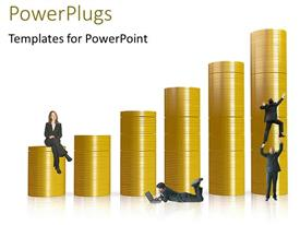 PowerPlugs: PowerPoint template with ascending stacks of gold colored coins with people climbing it