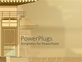 PowerPoint template displaying an ash colored display tile view of a building by the side