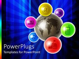 PowerPlugs: PowerPoint template with ash colored earth globe with six colored bubbles with communication symbols