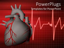 PowerPlugs: PowerPoint template with ash colored heart beating with red veins on a red background