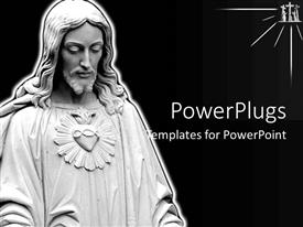 PowerPoint template displaying ash colored statue on Jesus on a black background