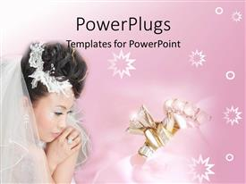 PowerPlugs: PowerPoint template with asian bride with wedding rings and stars on gradient bright pink background