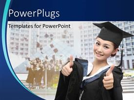PowerPoint template displaying an Asian student wearing a black colored graduation gown