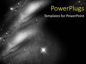 PowerPlugs: PowerPoint template with aSpace Travel background with stars and galaxy in black and white